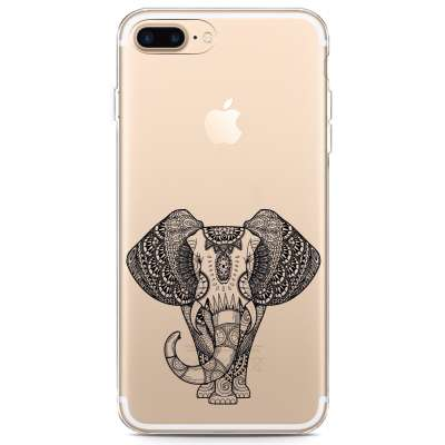 iPhone 7 Plus Hoesje Elephant Mandala Black
