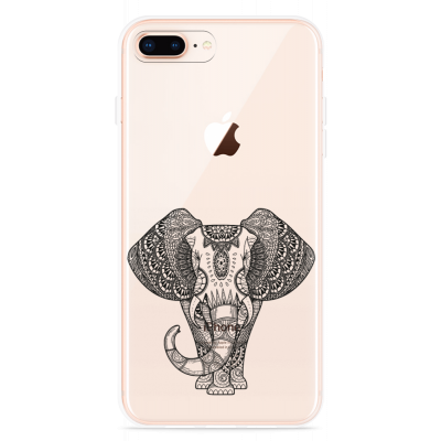 iPhone 8 Plus Hoesje Elephant Mandala Black
