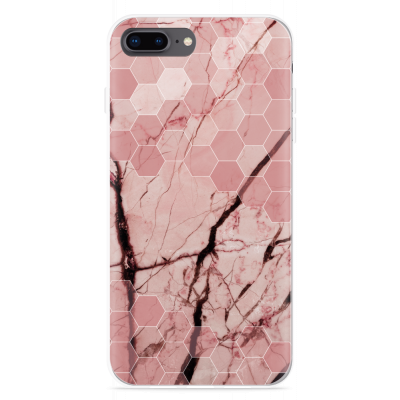 iPhone 8 Plus Hoesje Pink Marble