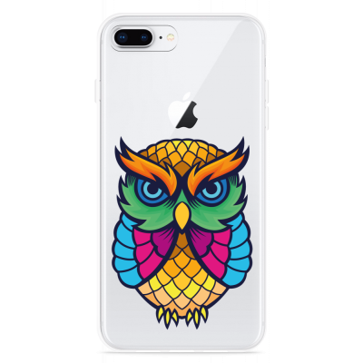 iPhone 8 Plus Hoesje Colorful Owl Artwork