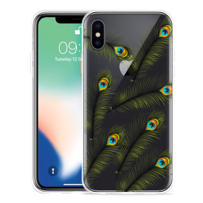 Apple iPhone X Hoesje Peacock Feathers
