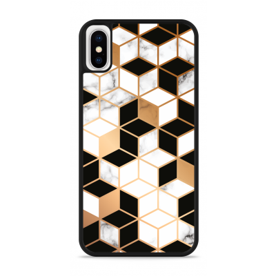 iPhone X Hardcase hoesje Black-white-gold Marble