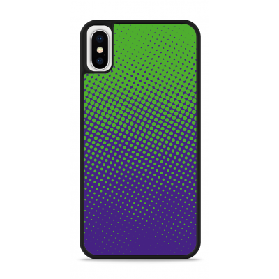 iPhone X Hardcase hoesje lime paarse cirkels