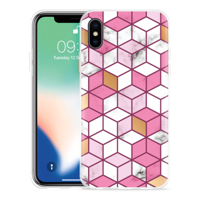 Apple iPhone Xs Hoesje Pink-gold-white Marble