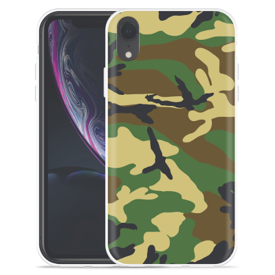 Apple iPhone Xr Hoesje Army Camouflage Green