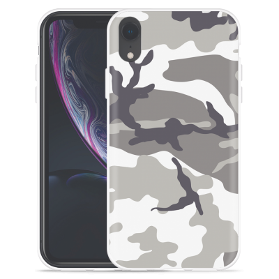 Apple iPhone Xr Hoesje Army Camouflage Grey