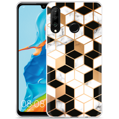 Huawei P30 Lite Hoesje Black-white-gold Marble