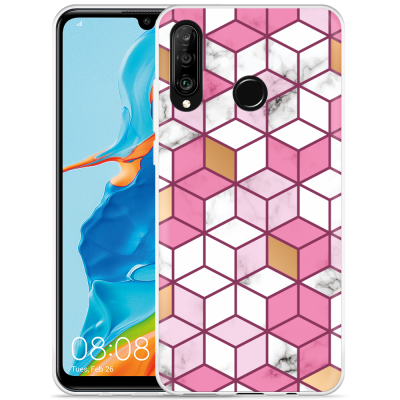 Huawei P30 Lite Hoesje Pink-gold-white Marble