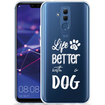 Huawei Mate 20 Lite Hoesje Life Is Better With a Dog - wit