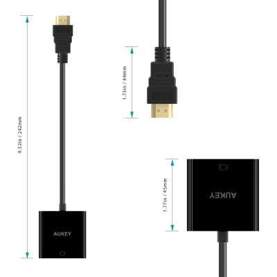 Aukey HDMI naar VGA Adapter 1080P - zwart