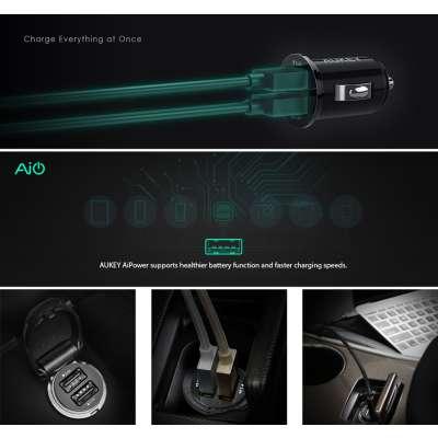 Aukey Autolader met 2 USB Poorten CC-S1 - Zwart