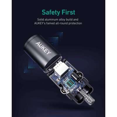 Aukey CC-A3 Delivery 2.0 & QC 3.0 Mini Autolader - Zwart