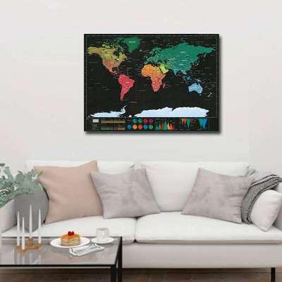 Luxe Grote Wereldkaart Krasposter - Scratch world map (82x60cm)