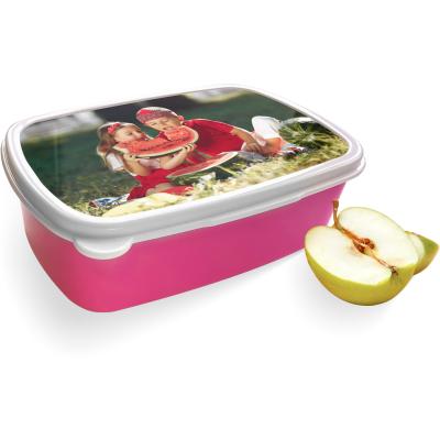 Broodtrommel met eigen foto - roze