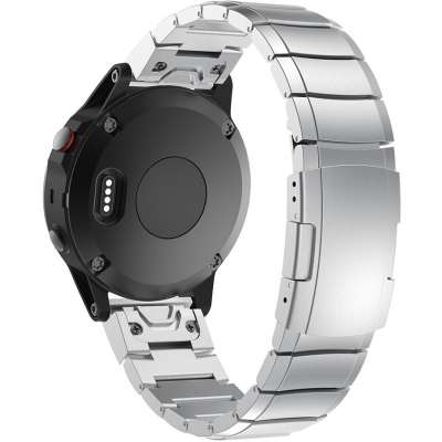 Just in Case Metalen Armband voor Garmin Fenix 5 / Fenix 5 Plus - Zilver