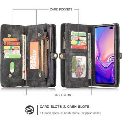 CASEME Samsung Galaxy S10 Luxe Leren Portemonnee Hoesje (grijs)
