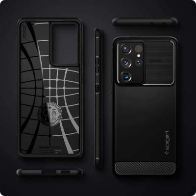 Samsung Galaxy S21 Ultra Hoesje Spigen Rugged Armor Zwart