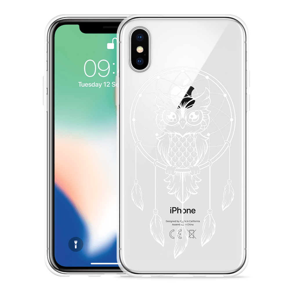 Apple iPhone X Hoesje Dream Owl Mandala White