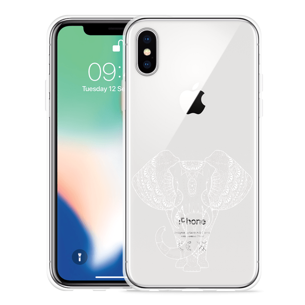 Apple iPhone X Hoesje Elephant Mandala White
