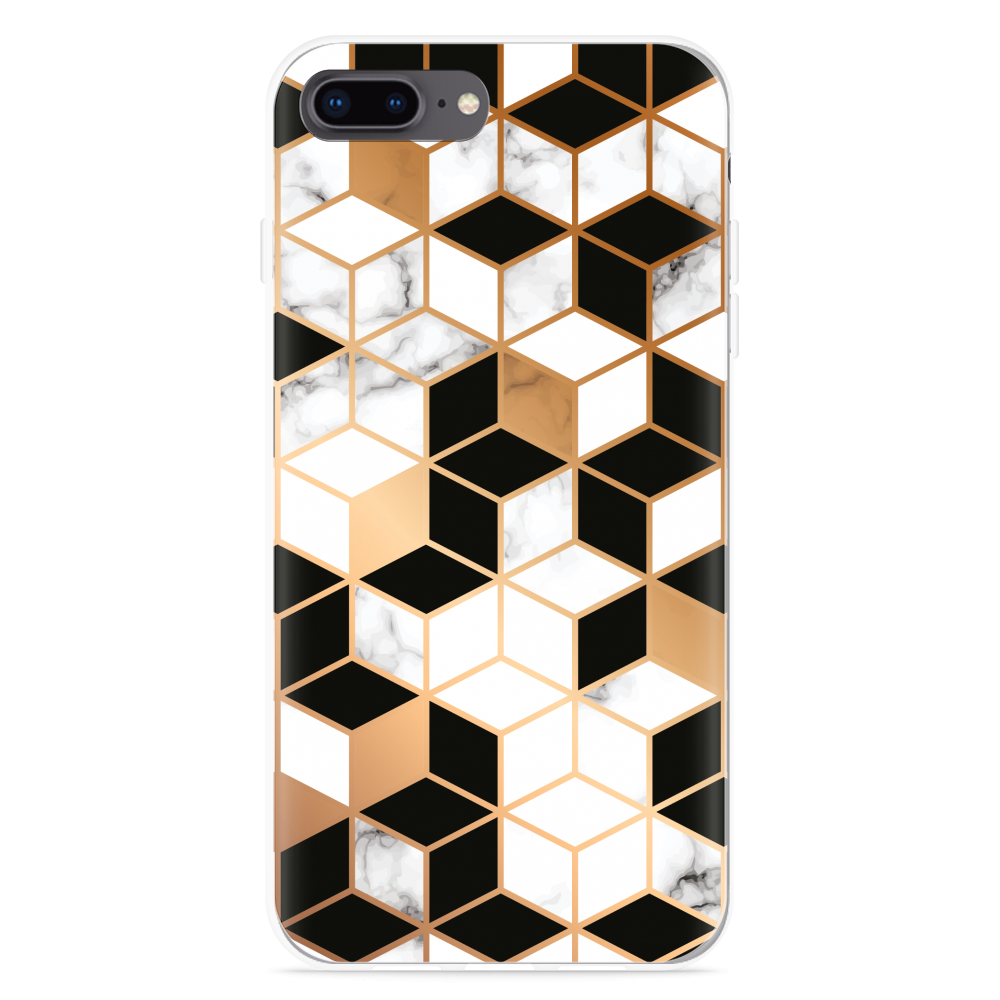 iPhone 8 Plus Hoesje Black-white-gold Marble