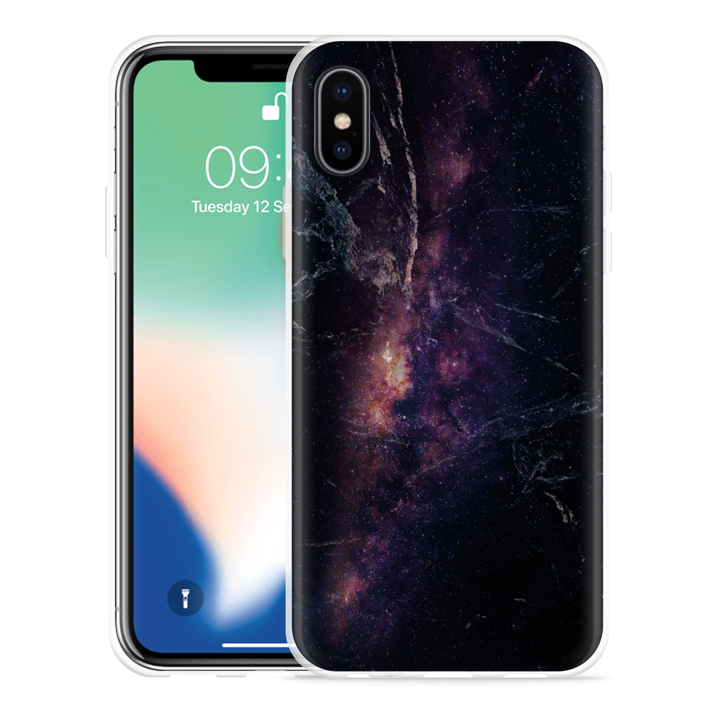 Apple iPhone X Hoesje Black Space Marble