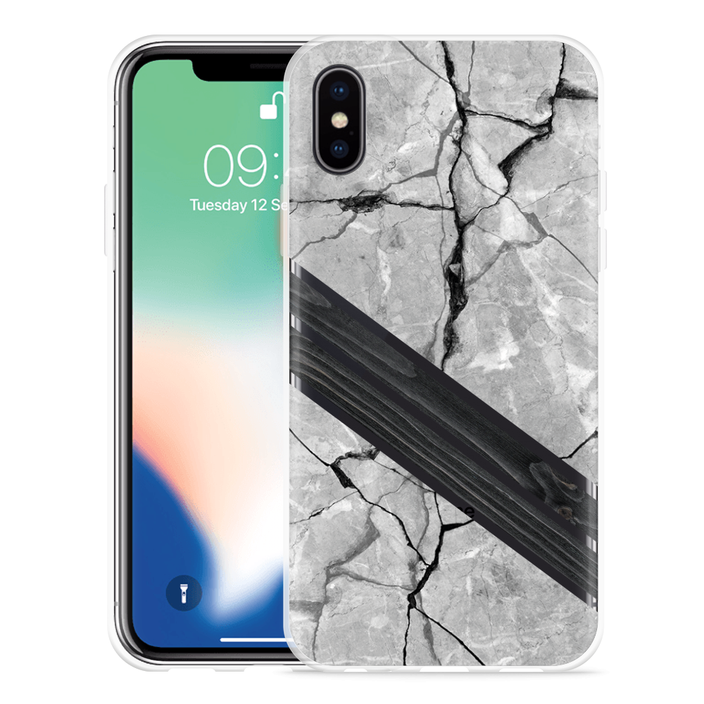 Apple iPhone Xs Hoesje Marble Wood