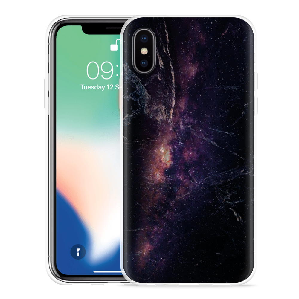 Apple iPhone Xs Hoesje Black Space Marble