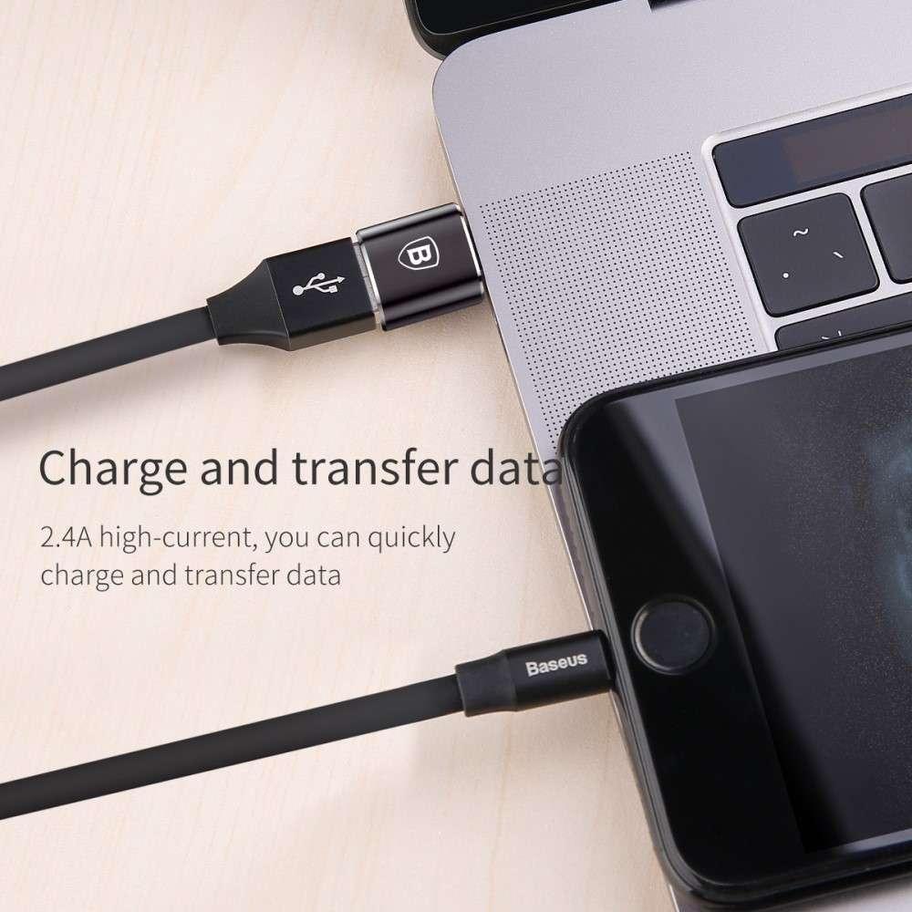 Baseus Adapter USB naar USB-C - Zwart