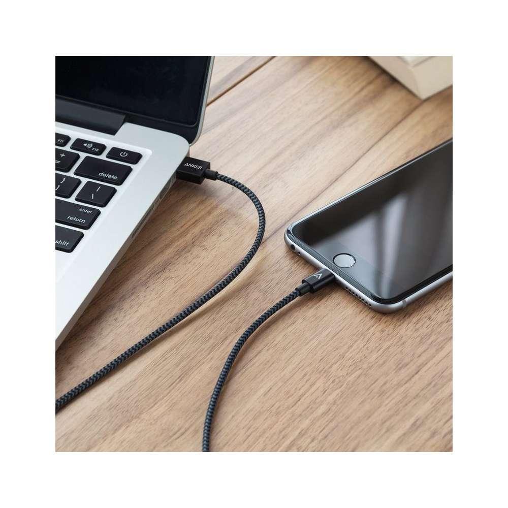 Anker Lightning gevlochten kabel 180cm MFI - 2 stuks Zwart