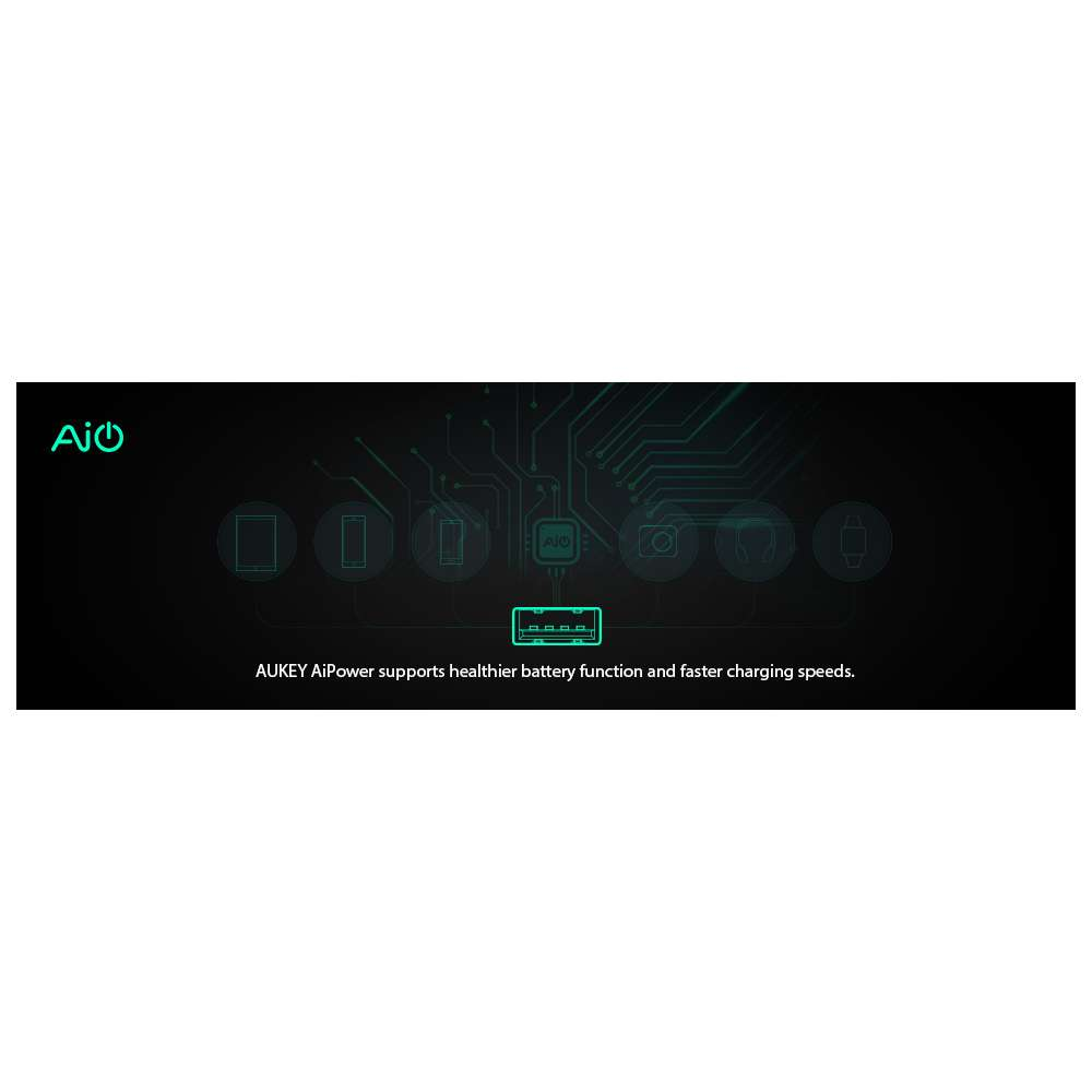 Aukey PA-U32 Mini Dual USB Oplader - Zwart