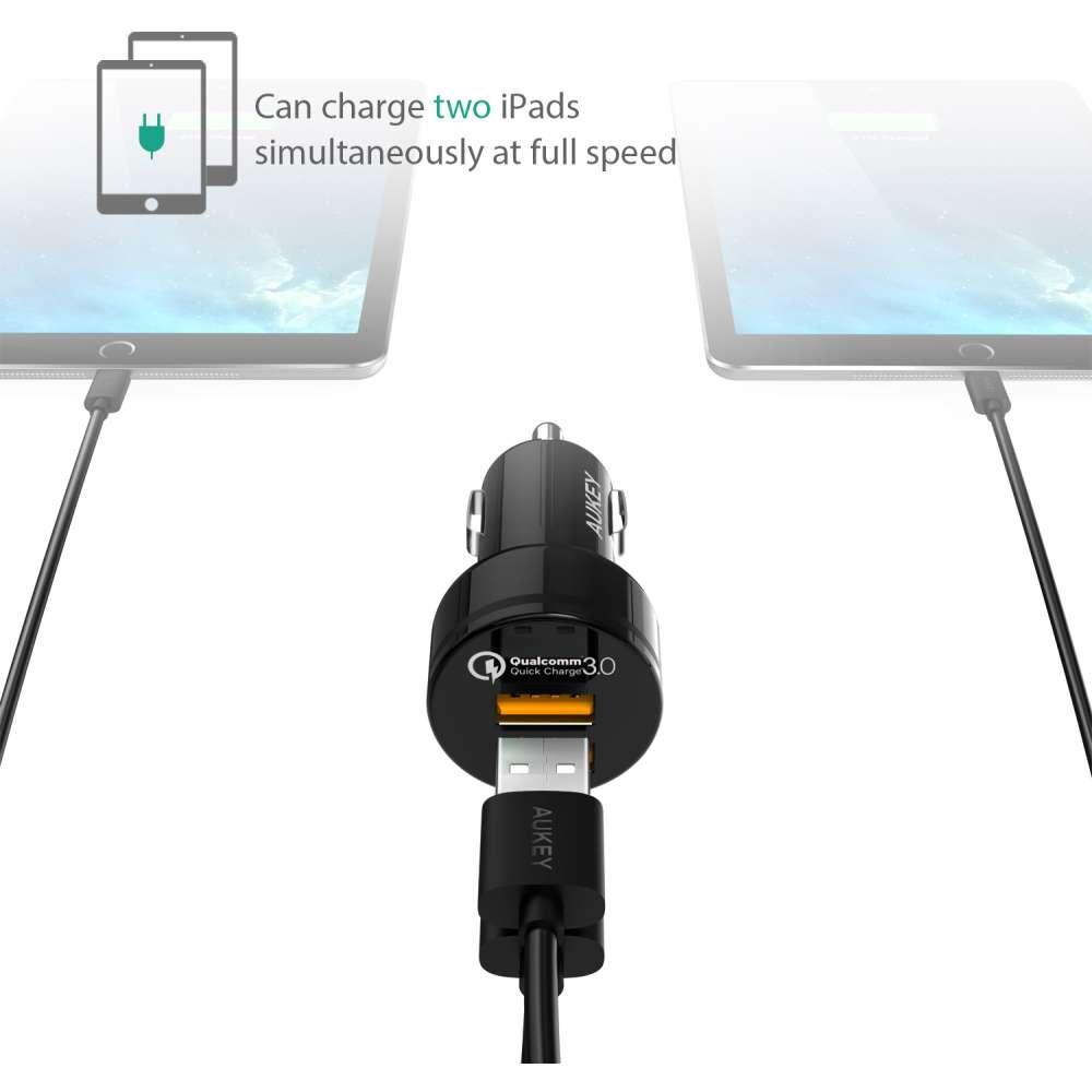 Aukey CC-T8 Dual USB Quick Charge 3.0 Autolader - Zwart