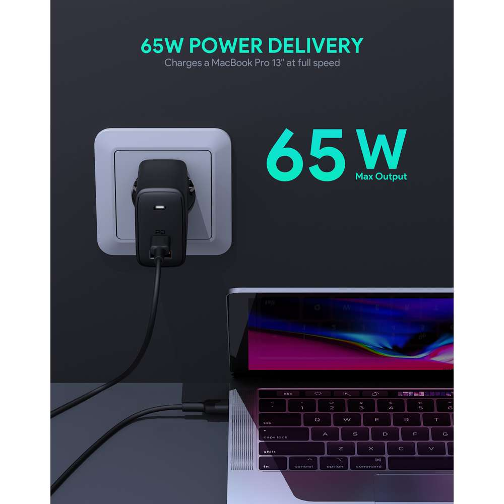 Aukey PA-B3 Power Delivery & QC 3.0 Thuislader 65W - zwart