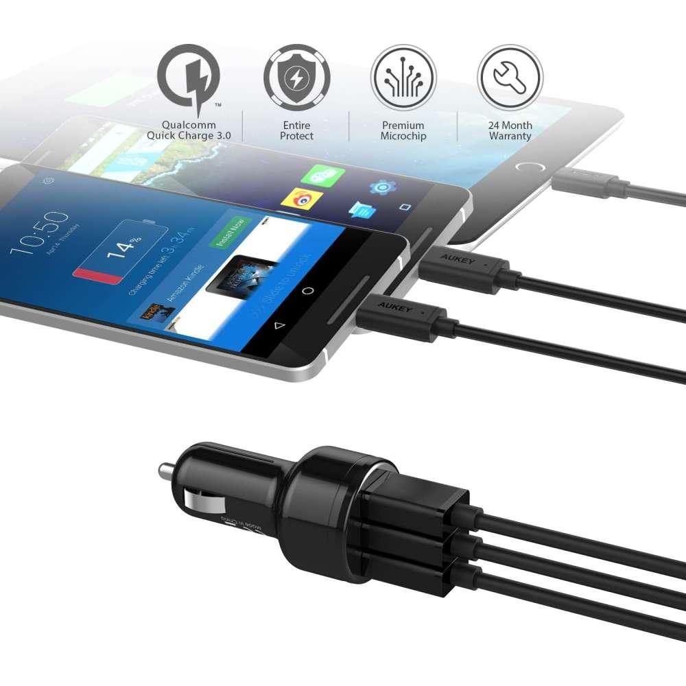 Aukey CC-T11 Quick Charge 3.0 Autolader met 3 USB poorten 42W - zwart