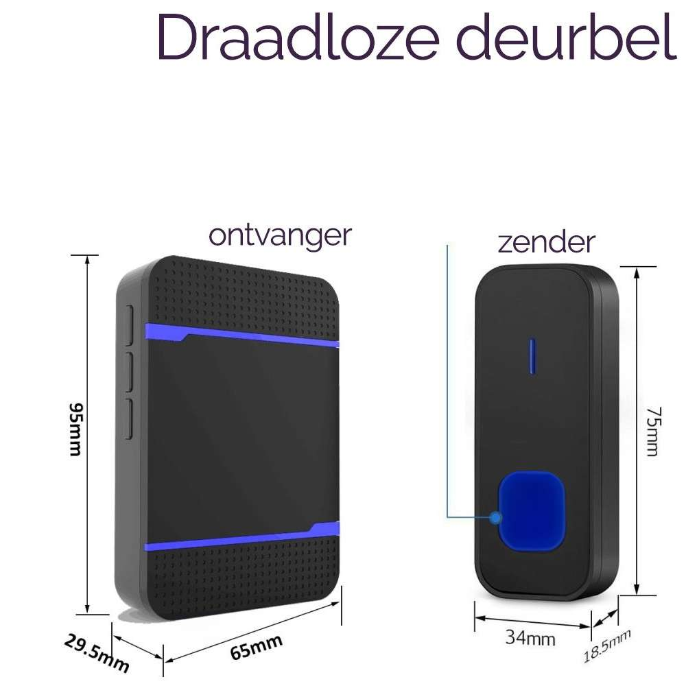 Draadloze deurbel - waterdicht - (1 Zender 2 Ontvangers) - Zwart