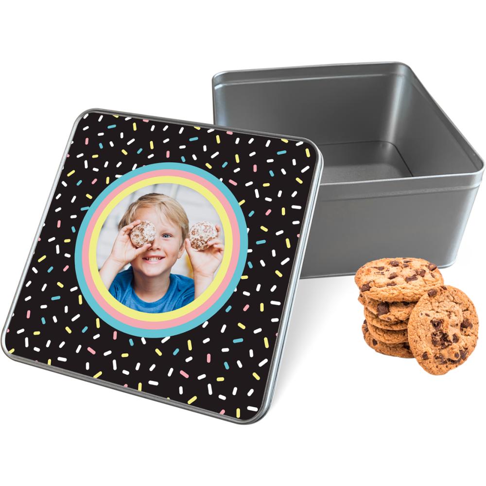Koektrommel Confetti Vibes met eigen foto - vierkant 20 x 20 x 10 cm