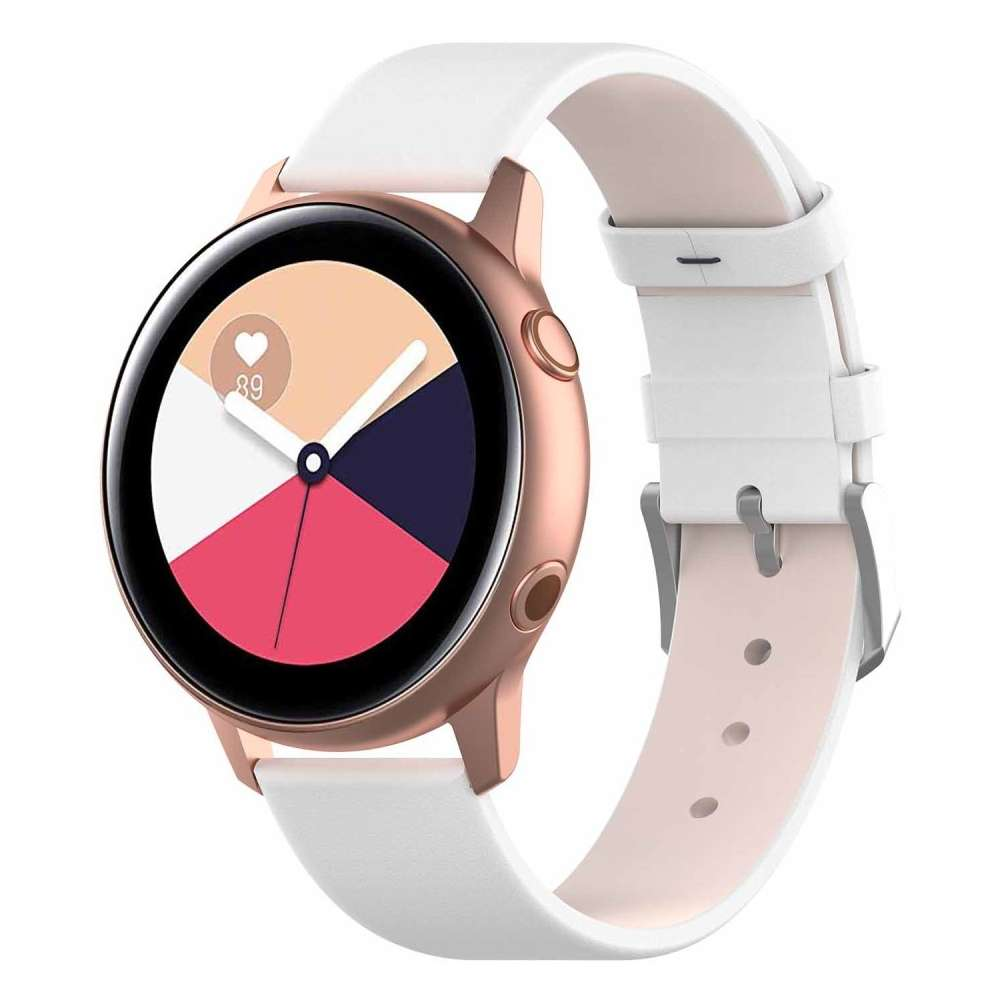 Just in Case Samsung Galaxy Watch Active PU Lederen armband - Wit