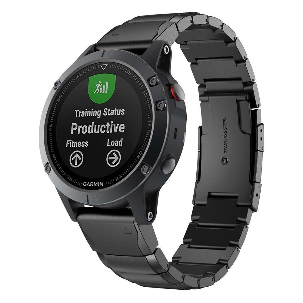 Just in Case Metalen Armband voor Garmin Fenix 5 / Fenix 5 Plus - Zwart