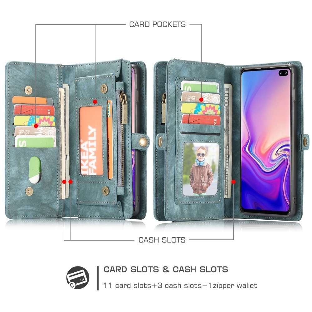 CASEME Samsung Galaxy S10 Luxe Leren Portemonnee Hoesje (groen)