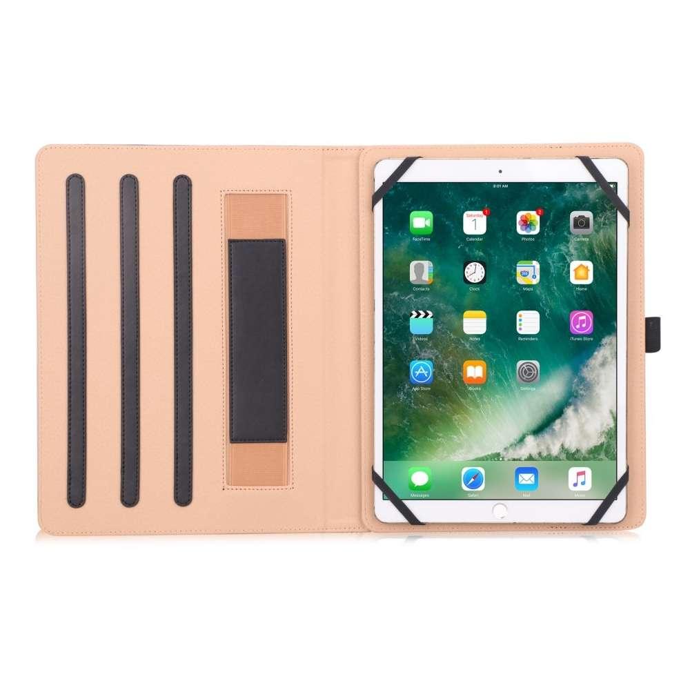 Universele PU-leder Tablet Case met Handband - 7.0 t/m 11 inch - Zwart