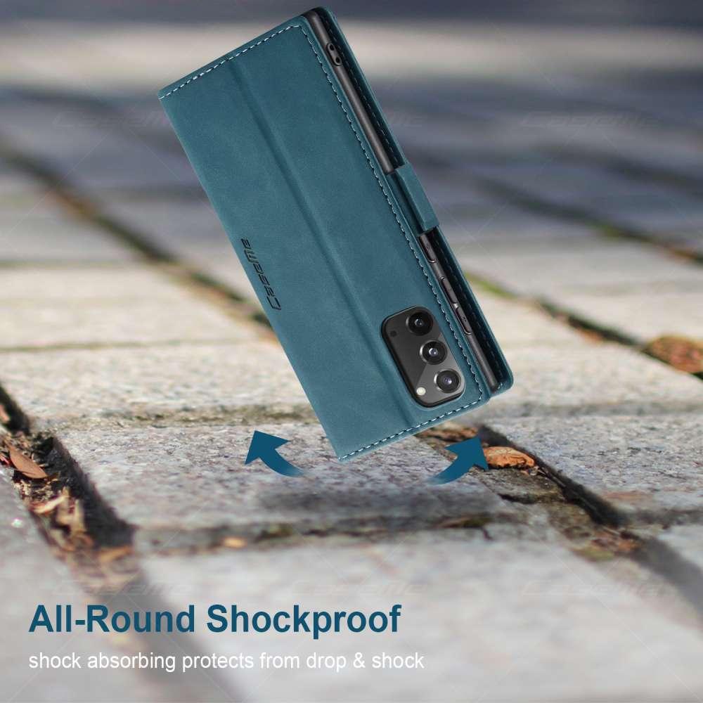CASEME Samsung Galaxy Note 20 Retro Wallet Case - Blauw