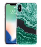 Apple iPhone X Hoesje Turquoise Marble Art