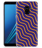 Samsung Galaxy A8 2018 Hoesje blauw oranje lijnen