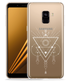 Samsung Galaxy A8 2018 Hoesje Abstract Moon White