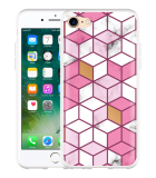 iPhone 7 Hoesje Pink-gold-white Marble