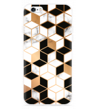 iPhone 6/6S Hoesje Black-white-gold Marble