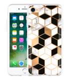 iPhone 7 Hoesje Black-white-gold Marble