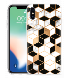 Apple iPhone X Hoesje Black-white-gold Marble