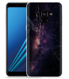 Samsung Galaxy A8 2018 Hoesje Black Space Marble