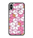 iPhone X Hardcase hoesje Pink-gold-white Marble