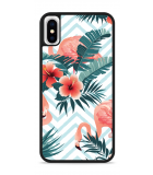 iPhone X Hardcase hoesje Flamingo Flowers